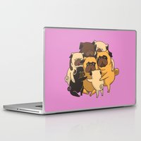 pugs Laptop & iPad Skins featuring Pugs Group Hug by Huebucket