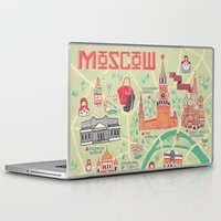 moscow Laptop & iPad Skins featuring Moscow Map by Ashley Ross