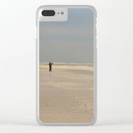 the photographer on the beach Clear iPhone Case