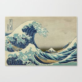 The Classic Japanese Great Wave off Kanagawa Print by Hokusai Canvas Print