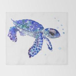 Cute Blue Baby Sea Turtle. children illustration, turtle art Throw Blanket