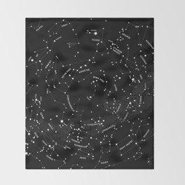 Constellation Map - Black Throw Blanket