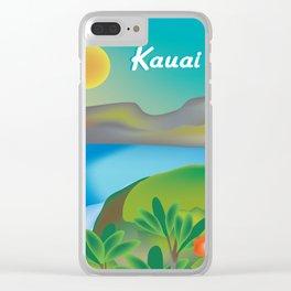 Kauai, Hawaii - Skyline Illustration by Loose Petals Clear iPhone Case