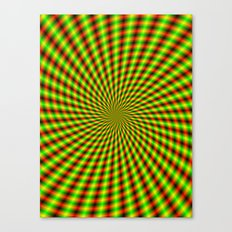 Spiral Rays in Yellow Green and Red Canvas Print