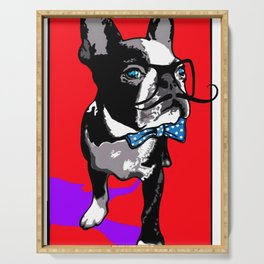 Hipster french bulldog Serving Tray