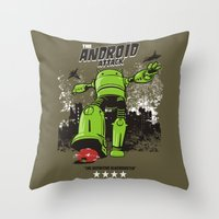android Throw Pillows featuring ANDROID ATTACK by Adams Pinto