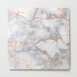 Gray Marble Rosegold  Glitter Pink Metallic Foil Style Metal Print