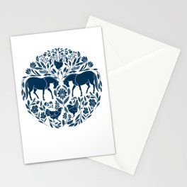 Modern Folk Art Horse Illustration with Botanicals and Chickens Stationery Cards
