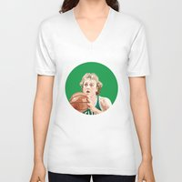 larry V-neck T-shirts featuring Larry Bird by AkidNamedWalter
