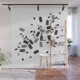 Black and White Gummy Bears Explosion Wall Mural