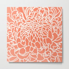 Coral Chrysanth 2 Metal Print