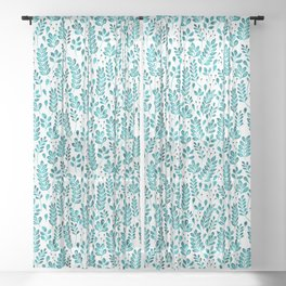 Wistful Floral - Turquoise Sheer Curtain