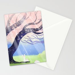 Soft Light On Soft Hares In Aloquil's Glades Stationery Cards