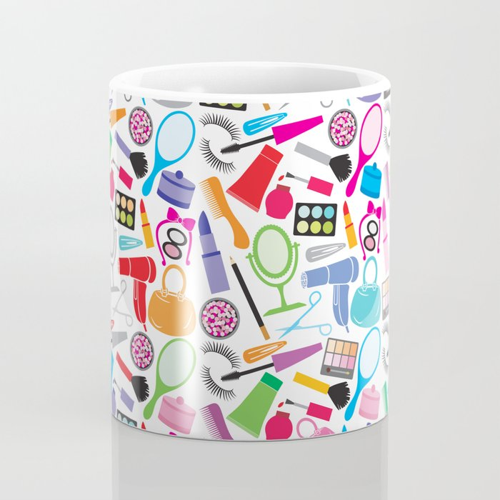 make up collection background (seamless pattern, beauty and makeup design) Coffee Mug
