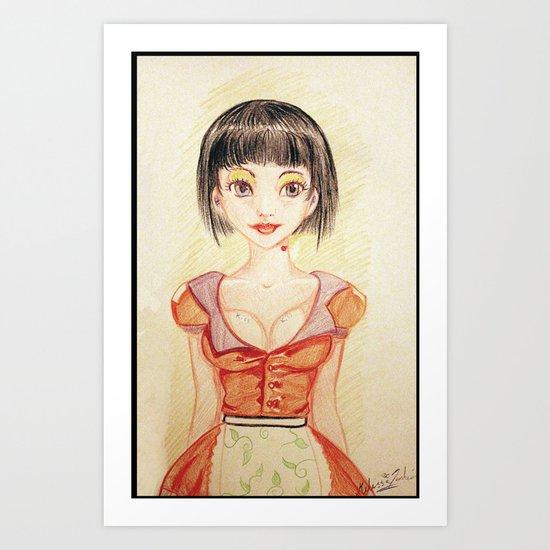 Miss Waitress Pin Up Art Print