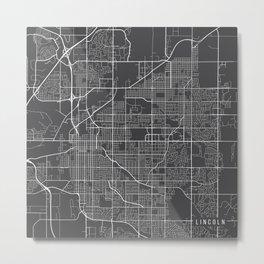 Lincoln Map, USA - Gray Metal Print