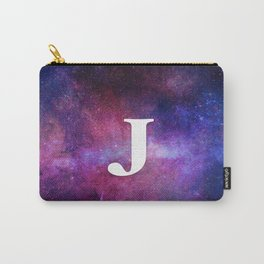 Monogrammed Logo Letter J Initial Space Blue Violet Nebulaes Carry-All Pouch