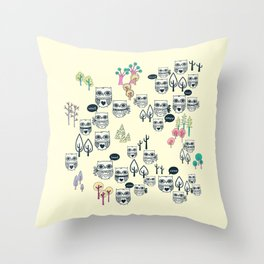 Forest Of Owls Throw Pillow