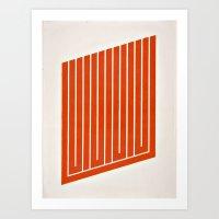 Orange Geometric Mod Art 2 Art Print