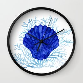 Seashell on coral - watercolors Wall Clock