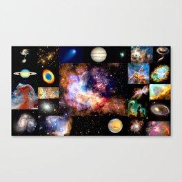Space Galaxy Nebula Collage Canvas Print