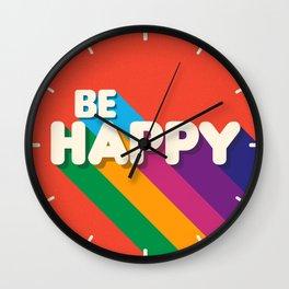 BE HAPPY - rainbow retro typography Wall Clock