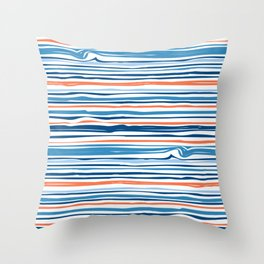 Modern Abstract Ocean Wave Stripes in Classic Blues and Orange Throw Pillow