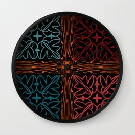Teal Motif Wall Clock