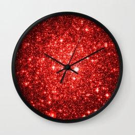 GalaXy : Red Glitter Sparkle Wall Clock