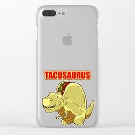 Tacosaurus print Gift Funny Dinosaur Taco Cinco de Mayo product Clear iPhone Case