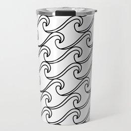 Rough Sea Pattern - black on white Travel Mug