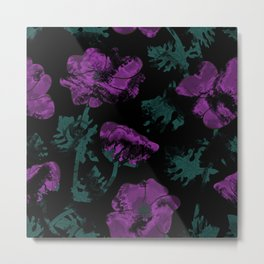 Purple flowers on black background Metal Print
