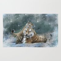 tigers Area & Throw Rugs featuring Tigers by Julie Hoddinott