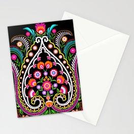 folk damask Stationery Cards