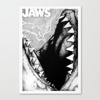 jaws Canvas Prints featuring Jaws by Sinpiggyhead