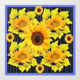 Yellow Sunflowers Pattern in Black-Blue Canvas Print
