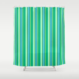 Mid-Century Awning Stripes, Jade Green and Blue Shower Curtain