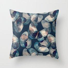 Dark blue pattern of butteflies Throw Pillow