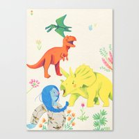 dinosaurs Canvas Prints featuring Dinosaurs by Maria Garcia