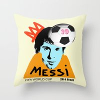 messi Throw Pillows featuring Messi by peopleilove