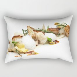 Scalops with mushrooms, cauliflower, coconut and sea ​​asparagus Rectangular Pillow