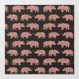 Modern Glam Rose Gold Glitter Striped Rhinos Canvas Print