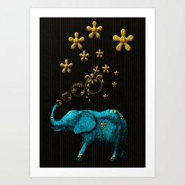 Glitter Bubble Elephant Art Print