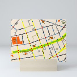 Tel Aviv map - Rothschild Blvd. Hebrew Mini Art Print