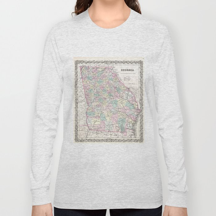 Vintage Map of Georgia (1855) Long Sleeve T-shirt