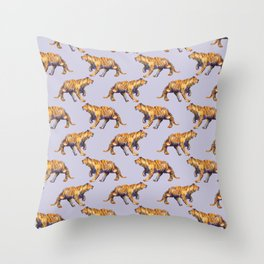 lilac tiger pattern Throw Pillow