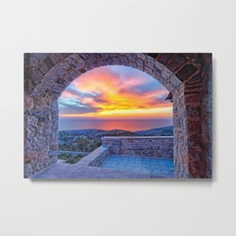 The sunset from the medieval mastic village of Avgonyma on the island of Chios, Greece Metal Print