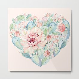 Cactus Rose Heart on Pink Metal Print