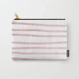 Simply Drawn Stripes in Rose Gold Sunset Carry-All Pouch