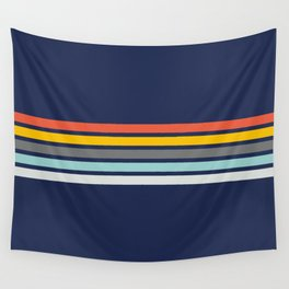 Multicolored Retro Stripes on blue Wall Tapestry